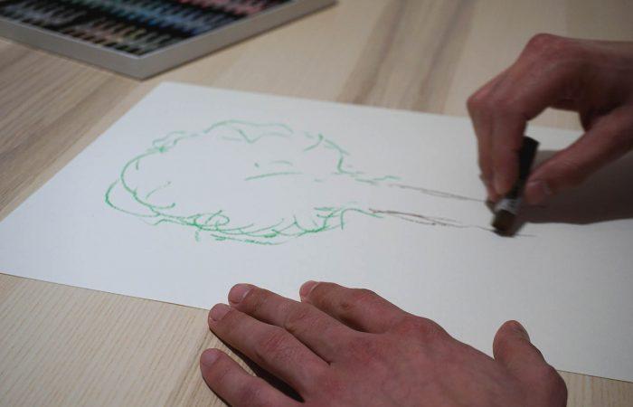 Bildbeispiel für kunsttherapeutisches Pastellkreidezeichnen