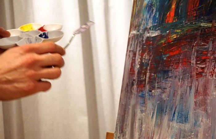 Bildbeispiel für kunsttherapeutische Acrylmalerei mit Malspatel